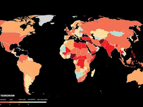Map reveals where terrorist attacks are most likely to happen
