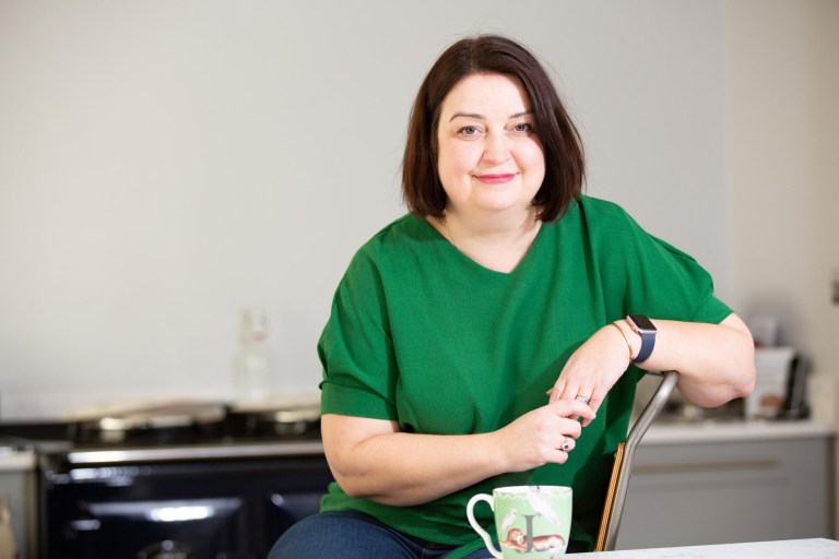 Jane Edwards has vasculitis. She is pictured at home drinking from a mug
