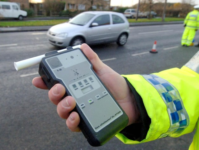 A police officer holds a breath test kit as the Christmas Drink Drive campaign is launched near Doncaster today.