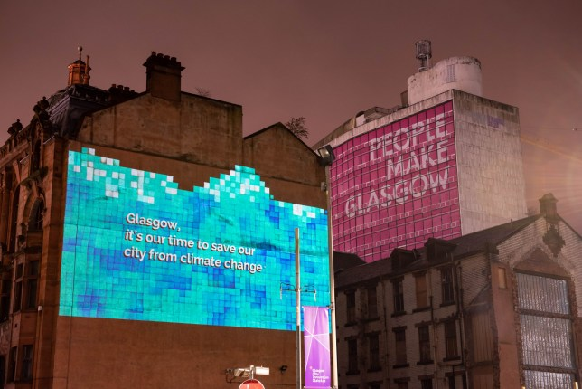 Embargoed to 0001 Saturday November 23 Undated handout photo issued by the It's Our Time Campaign of one of their wall projections in Glasgow, as under-18s and celebrities have helped launched the campaign aiming to motivate young people concerned about climate change to sign up to vote before the registration deadline on November 26. PA Photo. Issue date: Saturday November 23, 2019. See PA story POLITICS Election Climate. Photo credit should read: It's Our Time campaign/PA Wire NOTE TO EDITORS: This handout photo may only be used in for editorial reporting purposes for the contemporaneous illustration of events, things or the people in the image or facts mentioned in the caption. Reuse of the picture may require further permission from the copyright holder.