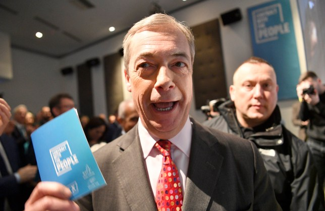 epa08016770 Brexit Party Leader Nigel Farage launches his election manifesto in London, Britain, 22 November 2019. Britons go to the polls on 12 December in a general election. EPA/NEIL HALL