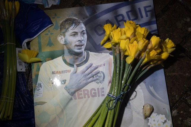 """File photo dated 08/02/19 of a tribute at Cardiff City Stadium for Emiliano Sala. The late father of Emiliano Sala said the star footballer was left """"like a dog"""" after the ??15 million transfer to Cardiff which ultimately led to his death. PRESS ASSOCIATION Photo. Issue date: Monday May 20, 2019. Sala, 28, had just signed from French side Nantes when he disappeared with the pilot of the Piper Malibu private plane when it crashed in the English Channel north of Guernsey on January 21. See PA story POLICE Channel. Photo credit should read: Aaron Chown/PA Wire"""