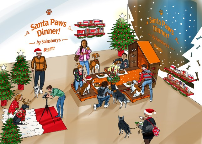 An illustration of Sainsbury's Santa Paws Dinner shop, with dogs and their humans seen pottering about the shop