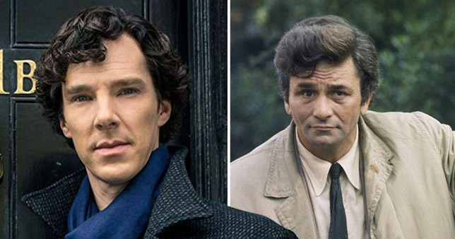 Benedict Cumberbatch as Sherlock and Peter Falk as Columbo