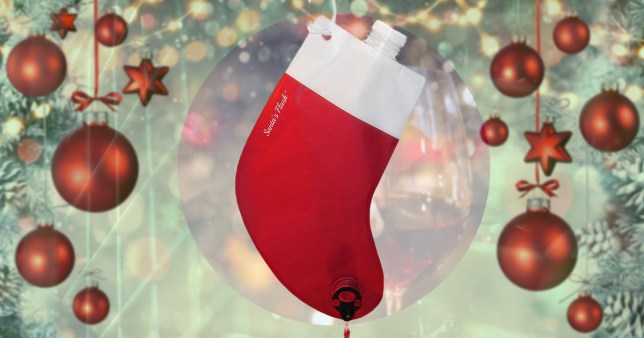 a christmas stocking which holds and dispenses wine