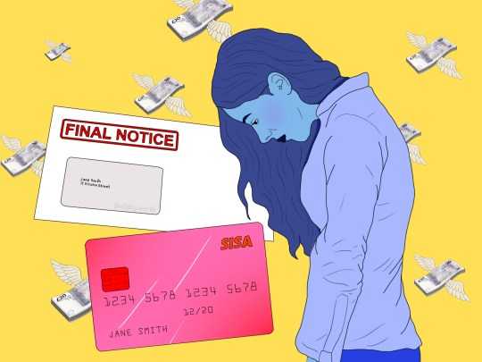 Ilustrasi seorang wanita dengan kepala tertunduk, bersama dengan surat yang mengatakan 'pemberitahuan akhir' dan kartu kredit merah muda dengan latar belakang kuning dengan uang terbang di sekitar
