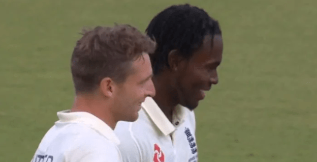 Jofra Archer was spotted smiling after flooring Steve Smith with a bouncer