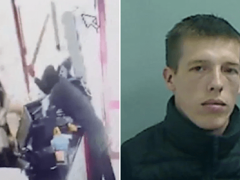 Armed man queued up to rob shop before being hit with own weapon