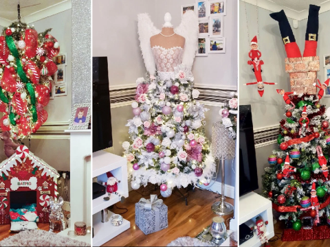 Mum transforms Christmas tree into creative new design every year for just £40