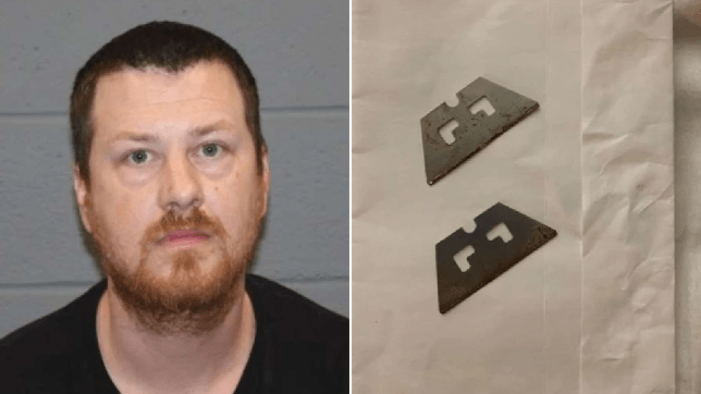 Mugshot of Jason Racz next to photo of razor blades he reportedly handed out to trick or treaters