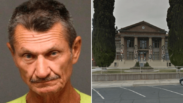 Mugshot of Jerry Gilligan next to file photo of Mojave County Superior Court