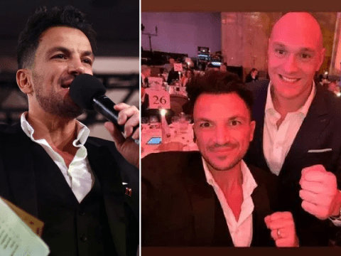 Peter Andre jokes Tyson Fury 'won' as they get in boxing ring for charity bash