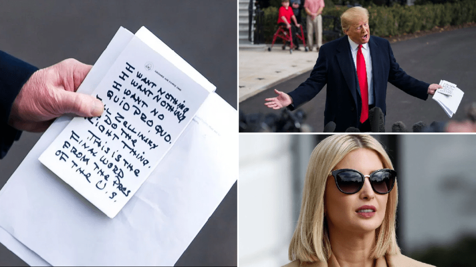 Close-up of Donald Trump's notes next to photo of Donald Trump reading them and photo of his daughter Ivanka looking on