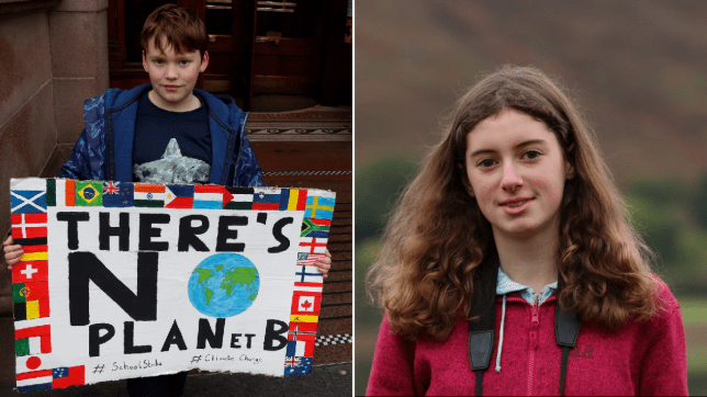 Young climate change activists Finlay and Holly