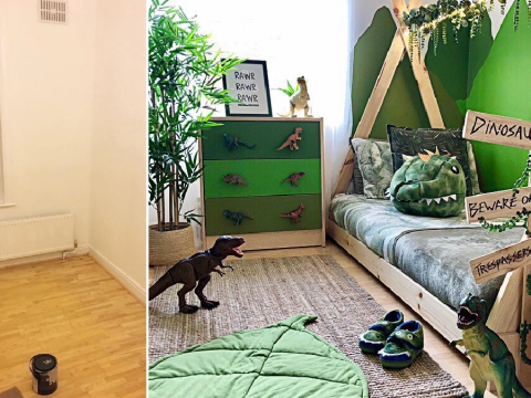 Mum creates incredible dinosaur bedroom for her son for £280
