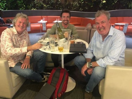 Jeremy Clarkson, James May and Richard Hammond at an airport