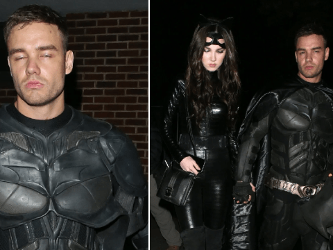 Batman is ready for bed as Liam Payne leaves Jonathan Ross' annual Halloween bash with Maya Henry