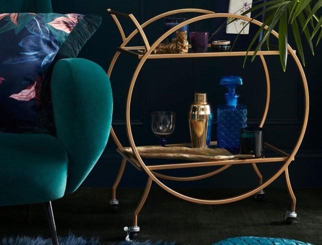 The Primark gold vintage bar cart