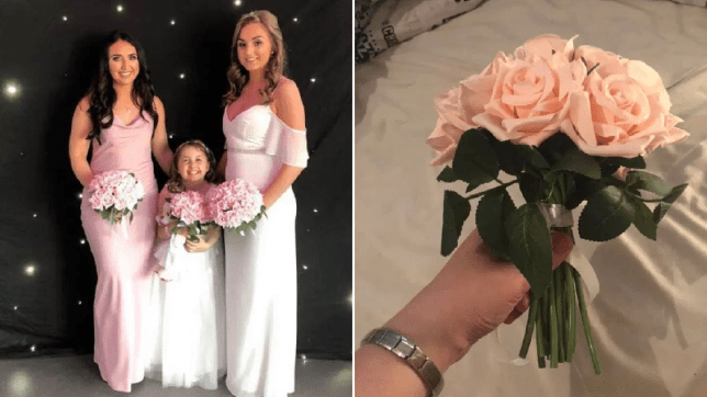 The bride, bridesmaid and maid-of-honour in their highstreet dresses with homemade bouquets