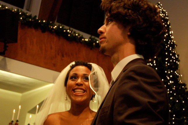 Julie Castin Cordeiro and her husband Gabriel on their wedding day)