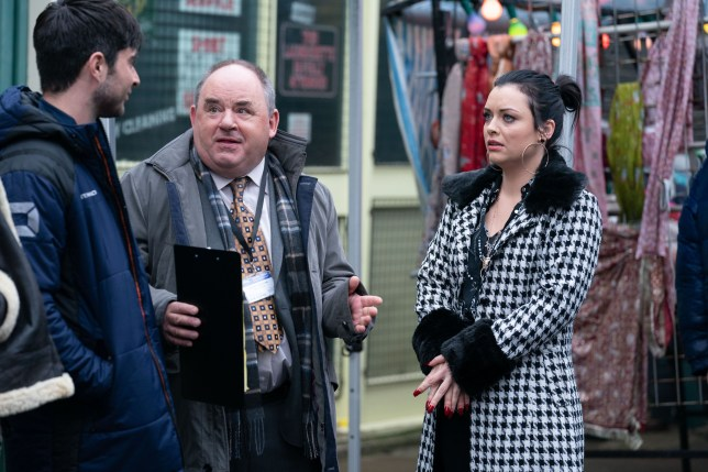 Whitney Dean, Leo King and Mr Lister in EastEnders