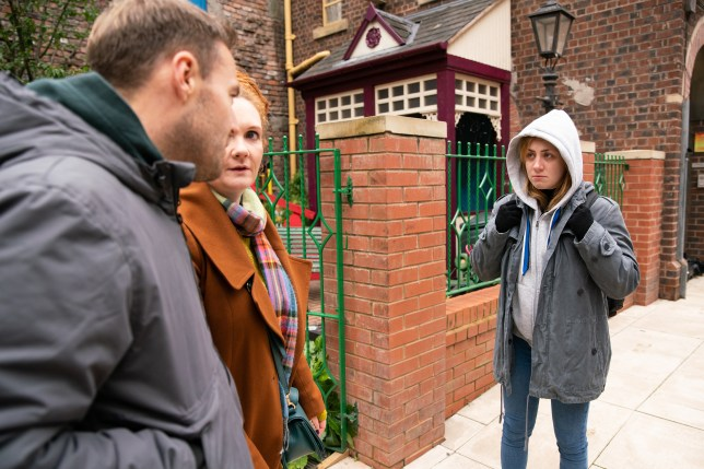 Jade Rowan, Fiz Stape and Tyrone Dobbs in Coronation Street