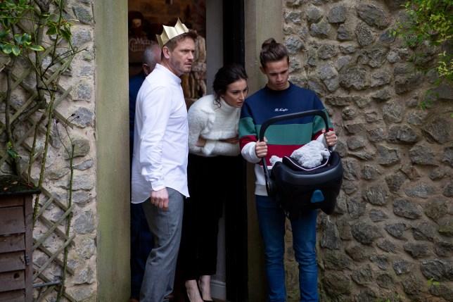 David, Jacob, Leyla in Emmerdale
