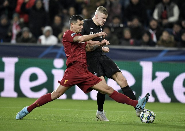 Erling Haaland was in action for RB Leipzig against Liverpool in the Champions League