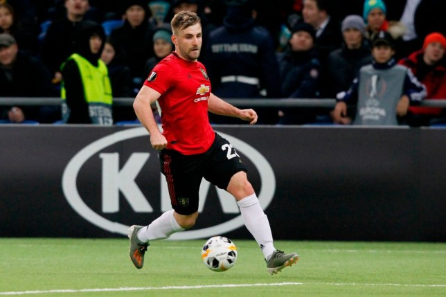 Luke Shaw's during Manchester United's Europa League defeat to Astana