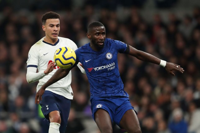 Antonio Rudiger challenges for the ball during Chelsea's 2-0 win over Tottenham Hotspur