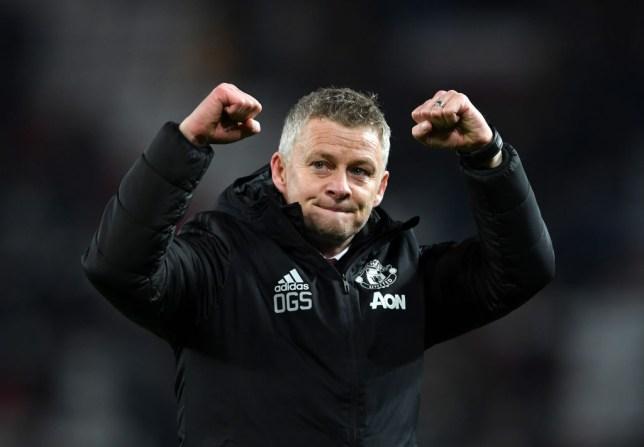 Ole Gunnar Solskjaer celebrates Manchester United's win over Tottenham Hotspur