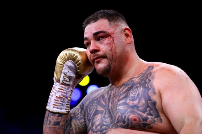 Andy Ruiz Jr is pictures with blood dripping down his face during a fight with Anthony Joshua