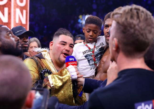 Andy Ruiz speaks into the mic alongside Anthony Joshua following their rematch