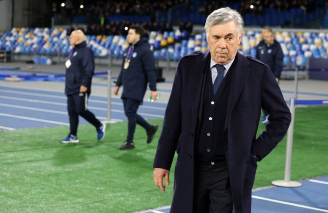 Manager Carlo Ancelotti is pictured as he makes his way to the dug-out before a Napoli game