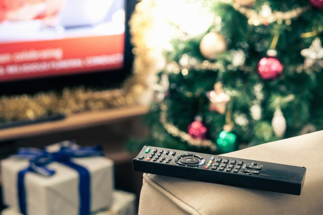 Television remote control, close up, with a Christmas tree in the background.