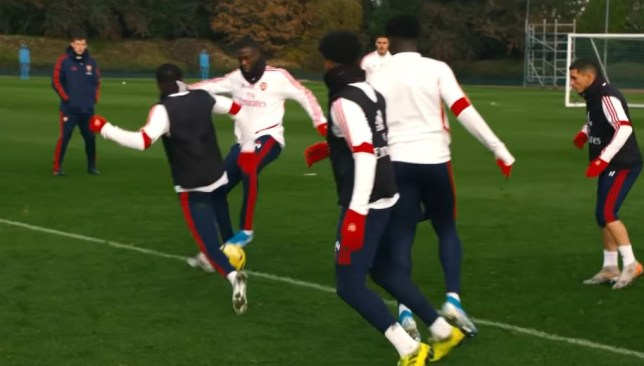 Nicolas Pepe got out of trouble with a nice flick in Arsenal's training session