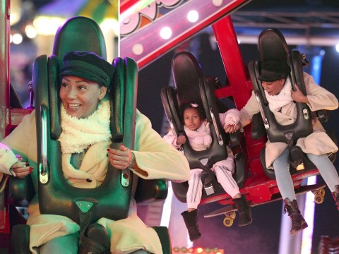 Mel B shows no fear at Winter Wonderland as she grips onto daughter during daring theme park ride