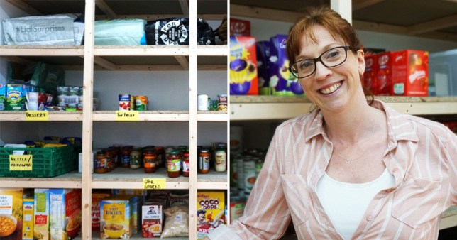 Split image of food stocked on a shelf at a charity and a woman standing in front of the shelves