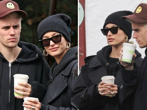 Justin Bieber struggles to raise a smile while Christmas tree shopping with wife Hailey Baldwin