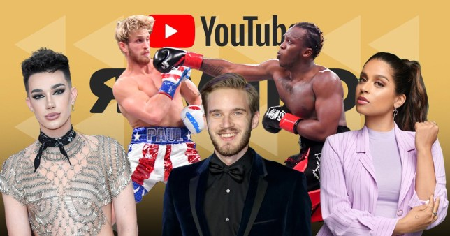 James Charles, PewDiePie, Logan Paul, KSI, Lilly Singh