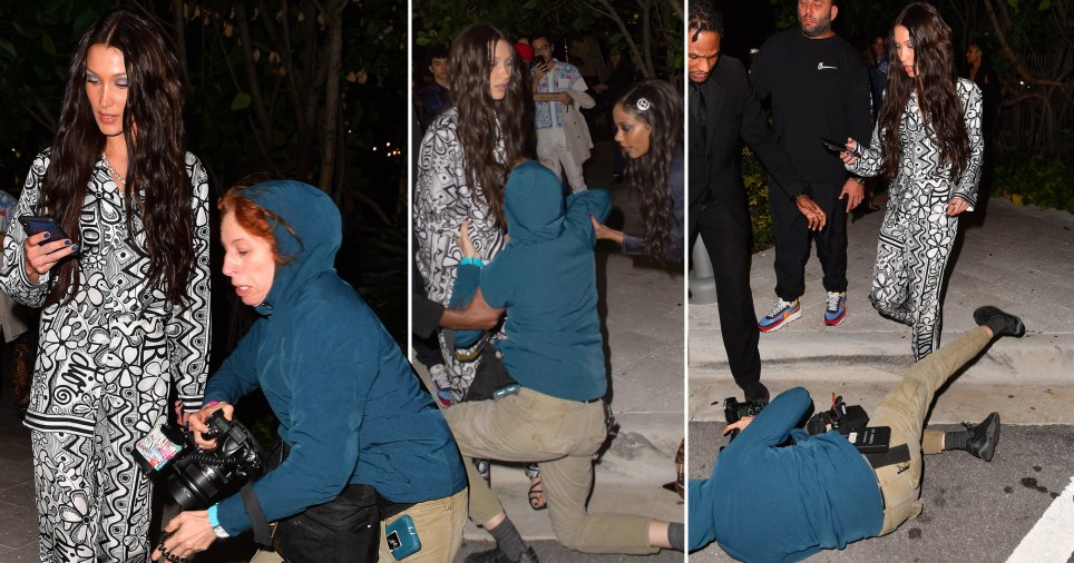 Hope you're having a better day than this photographer who tripped over Bella Hadid