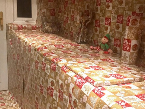 Woman threatens husband with divorce when he covers whole kitchen in wrapping paper