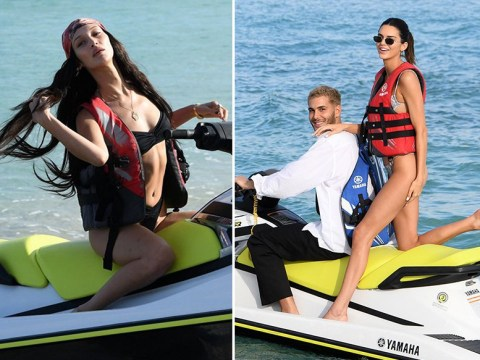 Kendall Jenner and Bella Hadid are holiday goals in Miami as they ride jet skis and top up their tan
