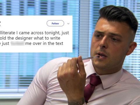 The Apprentice's Lewis Ellis 'blames' designer for spelling mistake blunder in perfume task