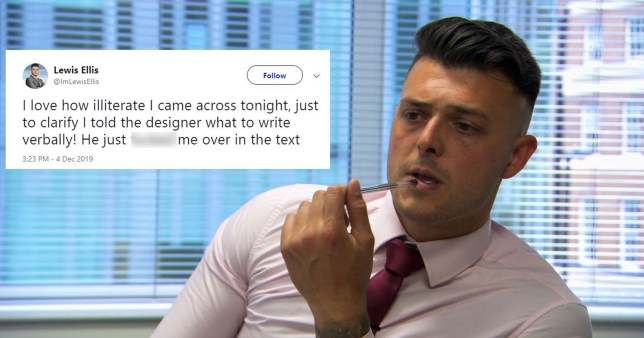 The Apprentice's Lewis Ellis 'blames' designer for spelling mistake blunder in perfume task