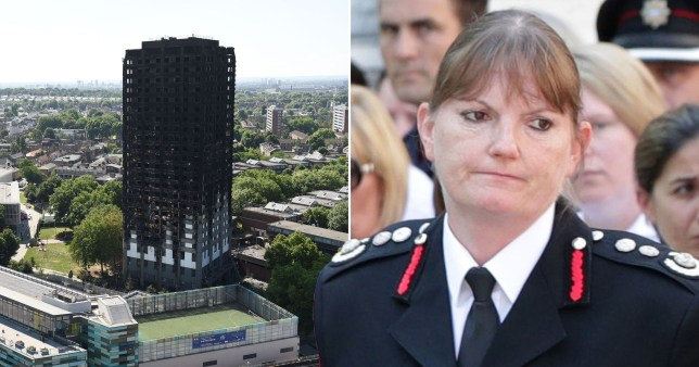 A burnt out Grenfell Tower in Kensington, west London and outgoing London Fire Brigade Commissioner Dany Cotton who announced she will step down on New Year's Eve 2019 following a damning phase 1 report into the disaster