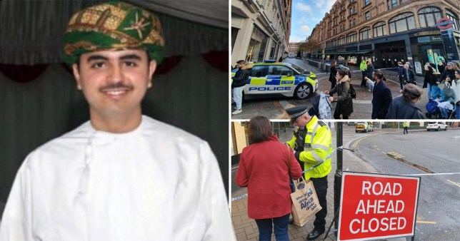Omani student Mohammed bin Abdullah Al Araimi and police outside Harrods, Knightsbridge, where he was fatally stabbed for his luxury watch