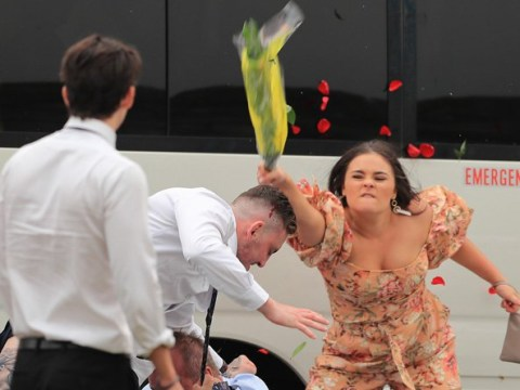 Woman whacks man with rose bouquet in mass brawl at Sydney races
