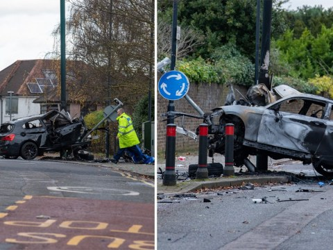Man dies after car crashes into lamppost in north London