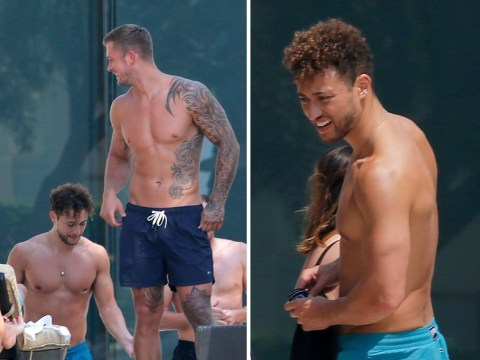 Dan Osborne and I'm A Celebrity's Myles Stephenson all smiles together at pool amid cheating claims